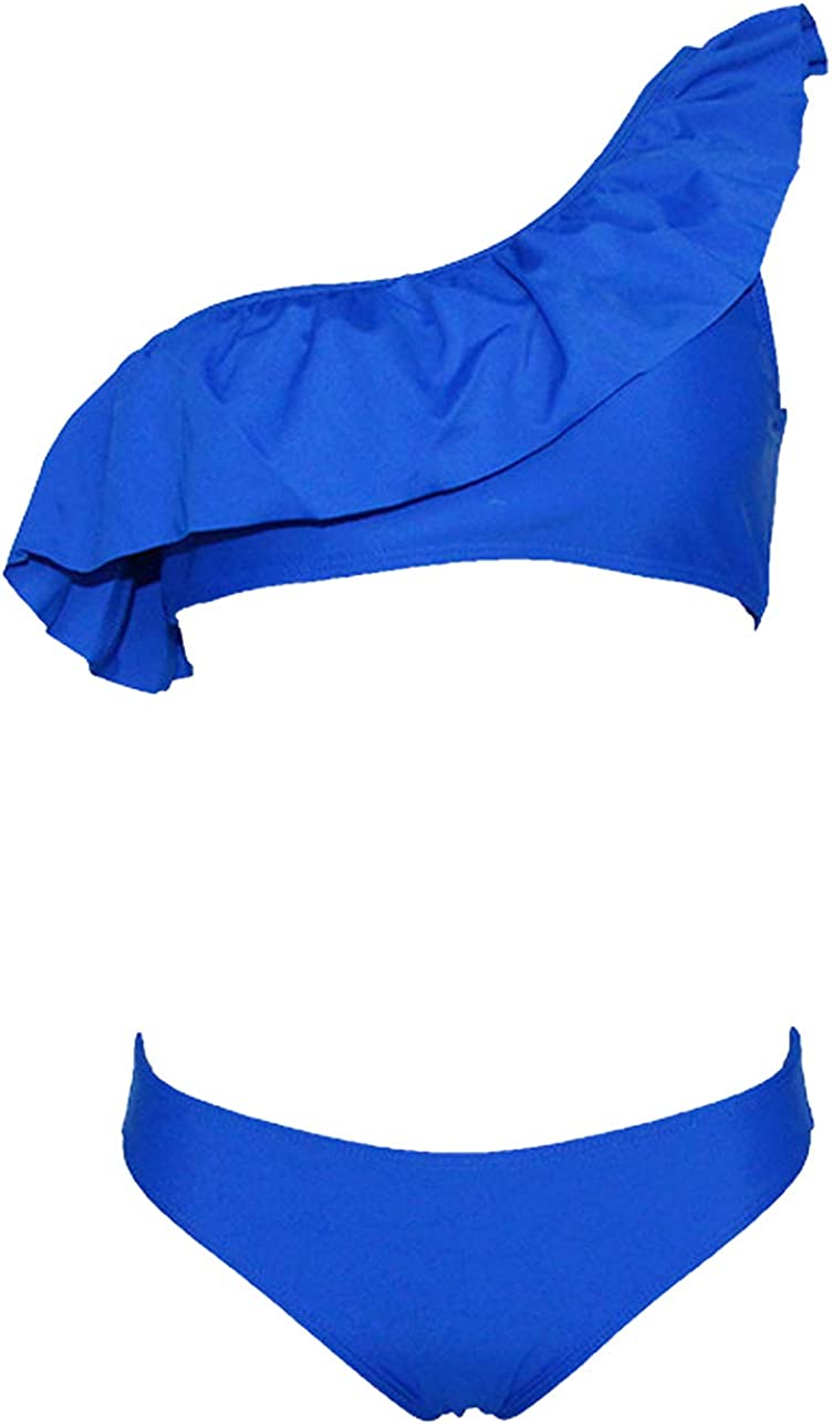 Maillot de Bain Bandeau 2 Pi/èces Femme Push Up Rembourr/é Volants Grande Taille Mayo de Bain Deux Pi/èces Bikini Ensemble Maillot de Bain Triangle 2 Pieces Plage Natation Piscine Trikini Costume de Bain