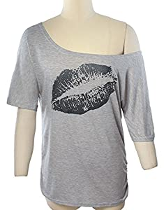 Smile fish Women Casual Oversized Sexy Lips Print Off Shoulder T-Shirt