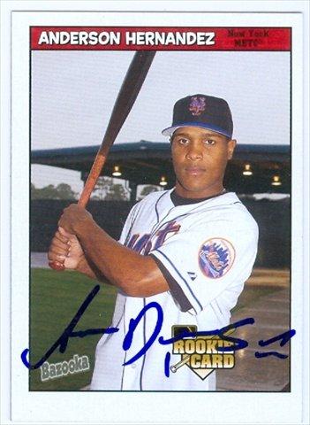 Autograph Warehouse 36347 Anderson Hernandez Autographed Baseball Card New York Mets 2006 Topps Bazooka Baseball Card No. 212