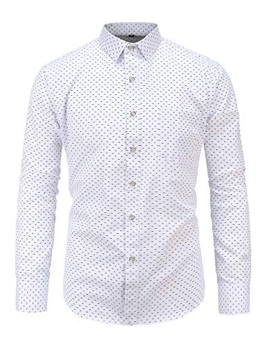 Jandukar Men's Printed Dress Shirt Cotton Casual Long Sleeve Slim Fit Button Down Point Collar ()