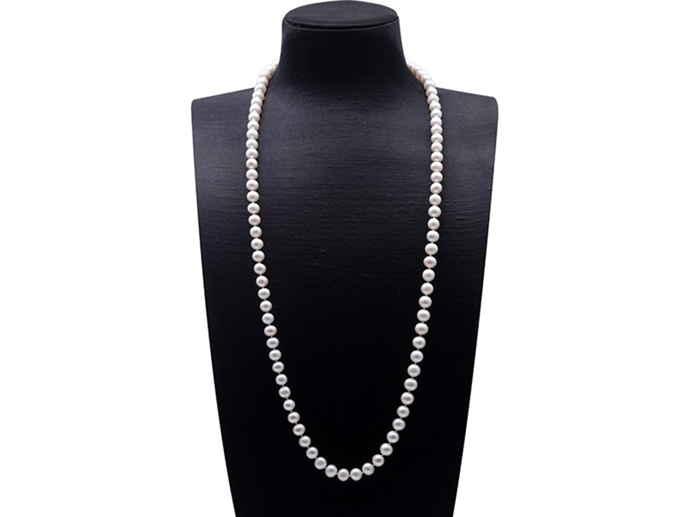 JYX Round 8-9mm White Cultured Freshwater Pearl Necklace Sweater Necklace 35''
