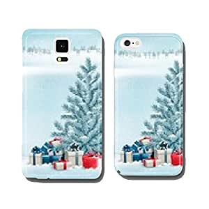 Winter landscape with a tree and gift boxes. Vector. cell phone cover case Samsung S5