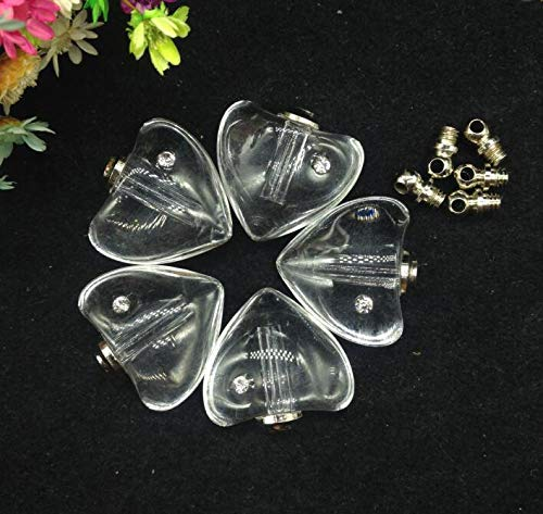 RanMory31 Glass Heart Pendant 50Pcs/Lot 1919Mm DIY Screw Cap Clear Heart Crystal Vials Pendants Perfume Vial Bottle Fashion Necklace Pendant Name On Rice Art