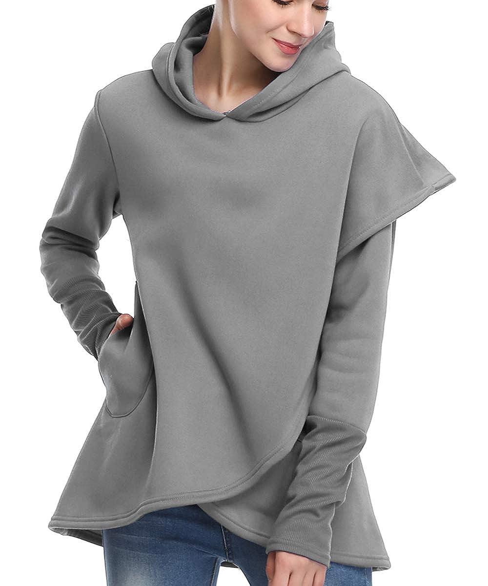 kyrakiss Womens Long Sleeve Hooded Sweatshirt Wrap Asymmetric Hem Pullover Hoodies XL-4XL