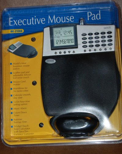 - Executive Mouse Pad Leather World Time Calender Calculator Wrist Pad Datexx