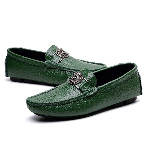 Business Flat Men's Scarpe Leisure Stampa Alligator Fashion Cricket Casual Vamp Scarpe Loafer da Green Heel x14q4nF