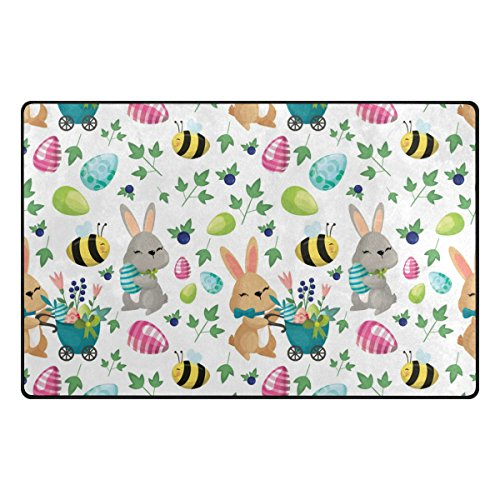 Elements Easter (ColourLife Easter Elements Lightweight Carpet Mats Area Soft Rugs Floor Mat Doormat Decoration for Rooms Entrance 31 x 20 inches)