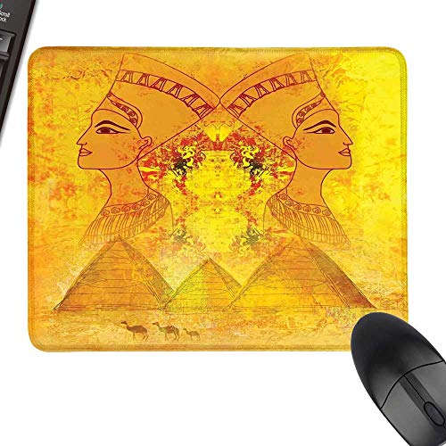 - Egyptian Rectangle Mouse Pads Antique Old Paper with Egyptian Queen Portraits Pyramids Camels Image Print Natural Rubber Gaming Mouse Mat 35.4