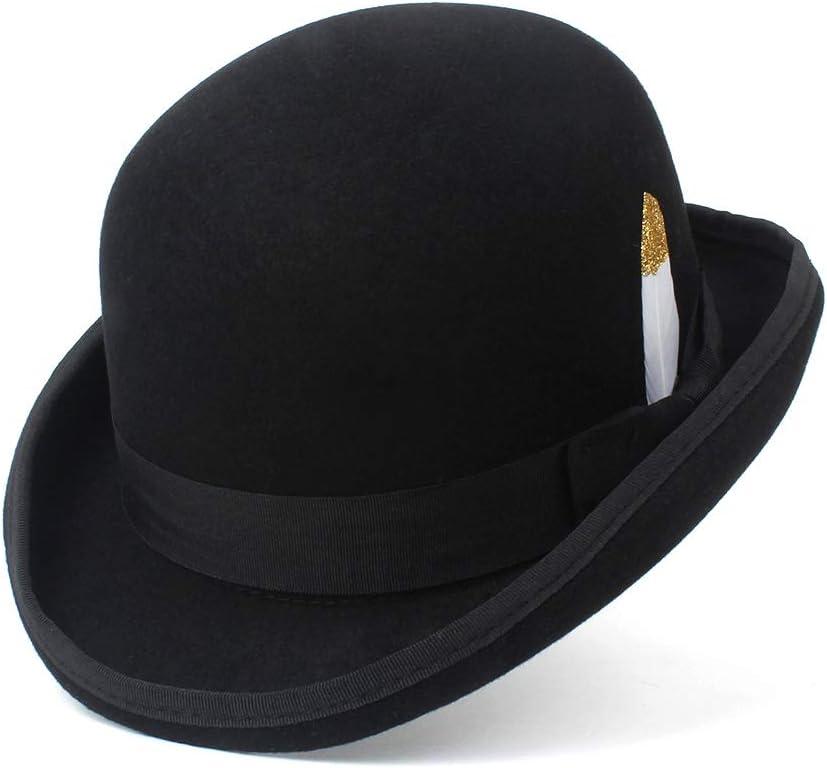 HOUJHUS Sombrero de Fedora for Hombre Azul Marino Gris Gris ala Floja Lana de Fieltro Sombrero de bombín Cúpula Informal Sombrero de Invierno Derby Gorras (Color : Negro, Size : 59cm)
