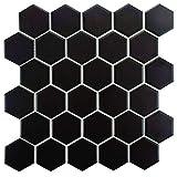SomerTile FXLM2HMB Retro Hex Porcelain Floor and Wall Tile, 10.5' x 11', Matte Black