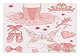 Lunarable Princess Pet Mat for Food and Water by - Fantastic Princess Ballerina Accessories Classic Costume Shoes Tiara Roses - Rectangle Non-Slip Rubber Mat for Dogs and Cats - Rose Pale Pink