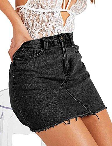 Skirt A-line Back Zip (Jean Skirt for Women A-line Fringed Slim Fit Denim Short Skirts (M, Black))