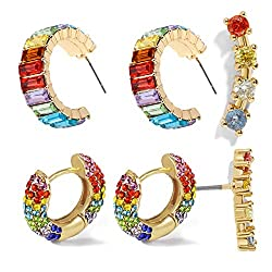 Rainbow Rhinestone Hoop Earrings for Women