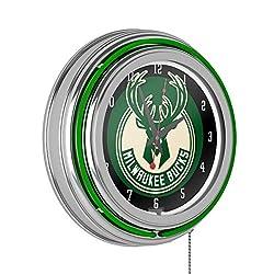 Milwaukee Bucks NBA Chrome Double Ring Neon Clock
