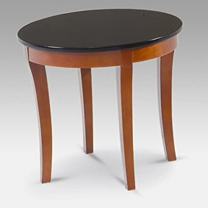 Mayline Midnight Round Granite Top End Table In Bourbon Cherry