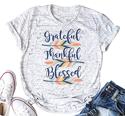 DUTUT Grateful Thankful Blessed Feather T-Shirt Womens Funny Thanksgiving Graphic Tee Fall Tops Size XL (Gray)
