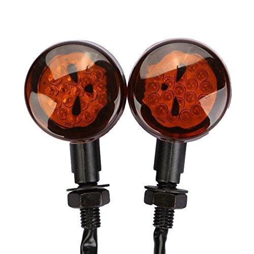 Motorcycle Black Skull Lens LED Turn Signals For Yamaha Vstar Classic Custom 400 650 1100 Models All Years (Model Signal Turn)