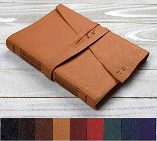 Custom Leather Journal, Personalized Hand-Bound Soft-Cover Blank Book