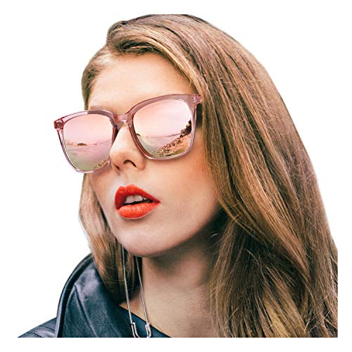 - SIPHEW Womens Mirrored Sunglasses Polarized-Fashion Oversized Eyewear with UV400 Protection for Outdoor (Pink Frame, Pink Mirrored Lens)