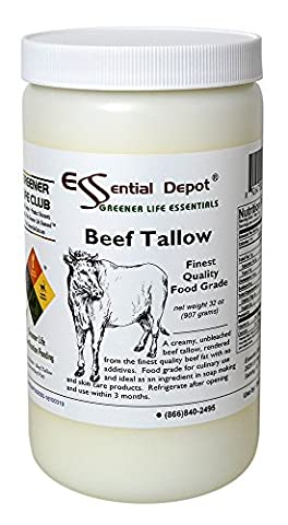 Beef Tallow Finest Quality Food Grade - 32 oz. - 2 lb. - 1 Quart - 2 Lb Beef