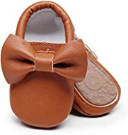 HONGTEYA Baby Moccasins with Rubber Sole - Flower Print PU Leather Tassel Bow Girls Ballet Dress Shoes for Tod