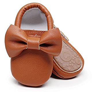 HONGTEYA Baby Moccasins with Rubber Sole - Flower Print PU Leather Tassel Bow Girls Ballet Dress Shoes for Toddler (12-18 Months/US 6/5.12''/ See Size Chart, Brown)