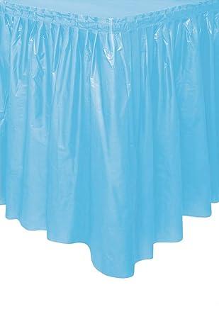 Unique Party- Falda de mesa de plástico, Color azul claro, 420 cm ...