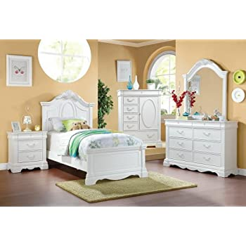 Pearl White Finish Twin Sleigh Bed 5 Pc Set By Acme Kitchen Dining