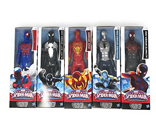Ultimate Spiderman Suits (5 LOT Marvel Titan Hero Series Ultimate Spider-Man Movie Spiderman Series, Spiderman 2099, Iron Spider, Black Suit Spider Man, Ultimate Spider Man and Armoured Spiderman size12 inch)