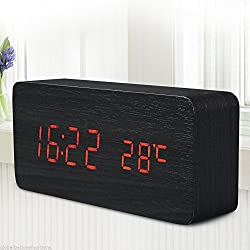 Digital LED Wood Wooden Desk Alarm Clock Timer Thermometer Snooze Voice Control Color:RED