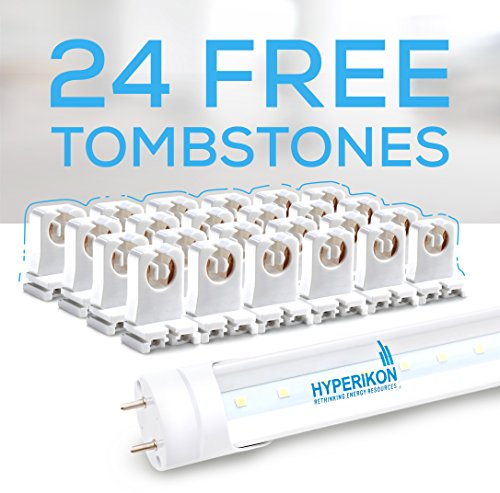 Hyperikon T8 LED Light Tube, 4ft, 18W (40W equivalent), 6000K (Very Bright White), Single Ended Power, Clear, UL - 24-Pack [24 Tombstones Included] by Hyperikon (Image #2)