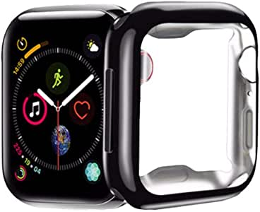 FOOKANN Full Coverage Screen Protector Cover for Apple Watch 44mm Series 5 / 4, Soft Protective Case for iWatch 44mm Series 5 / 4, Black