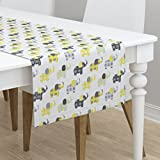 Table Runner - Elephants Gray Yellow Grey White Animals Circus by Littlebdesigns - Cotton Sateen Table Runner 16 x 72