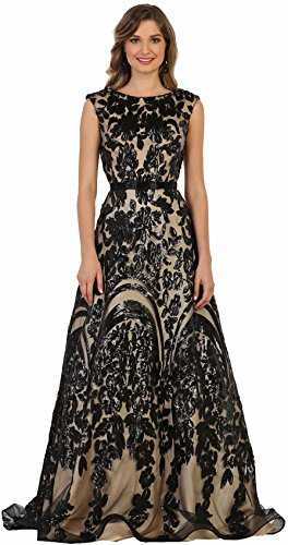 Formal Dress Shops Inc by RQ7632 Red Carpet Stunning Designer Gown (Black/Nude, (Red Carpet Designer Dresses)
