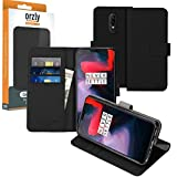 Orzly OnePlus6 Wallet Case Multi-Function Wallet Case for the OnePlus 6 (2018 Model SmartPhone) - BLACK Protective Cover with Card Pockets & Integrated Display Stand