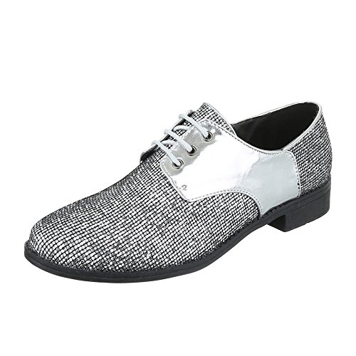 Ital-Design WoMen Lace-Up Flats Silber