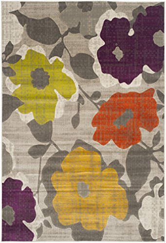 Safavieh Porcello Collection PRL7726C Grey and Yellow Area Rug (6′ x 9′) For Sale