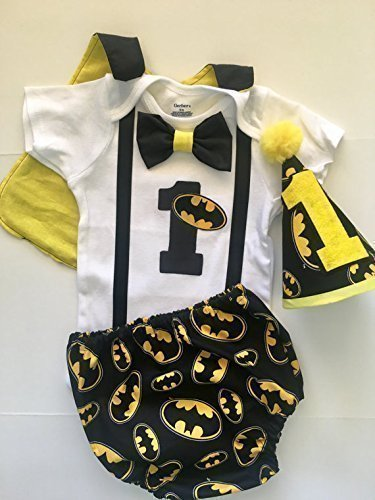 Batman Dark Knight Superhero Boys First Birthday Outfit Cake Smash With Cape And Optional Party