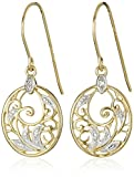 18k Yellow Gold and Rhodium Plated Sterling Silver Diamond-Accent Floral Dangle Earrings