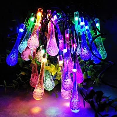 Goldenwide® Crystal Water Drop 20 Led String Lights with Solar Panel Multi-colored Blue Yellow Green Red Waterproof IP44