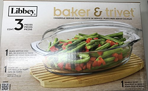 1.6 QT Glass Baker Covered Casserole Serving Dish & Bamboo Trivet