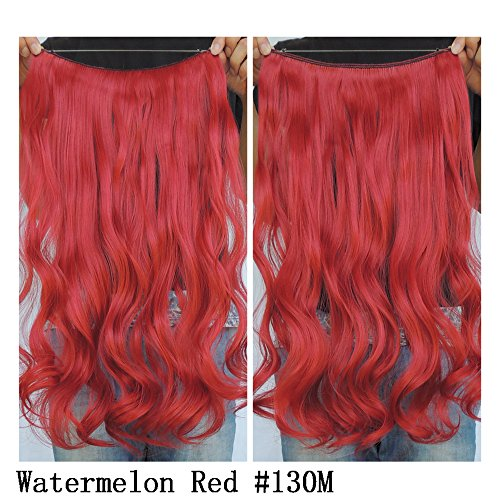 60 Cm Extension (Secret Wire Halo Hair Extensions Flip in Curly Wavy Hair Extension Synthetic Women Hairpieces 20
