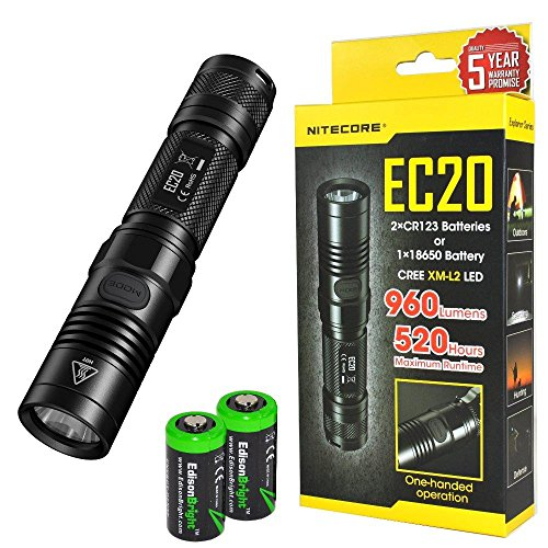 Nitecore EC20 960 Lumen CREE XM-L2 T6 LED Flashlight with Two EdisonBright CR123A Lithium Batteries by Nitecore