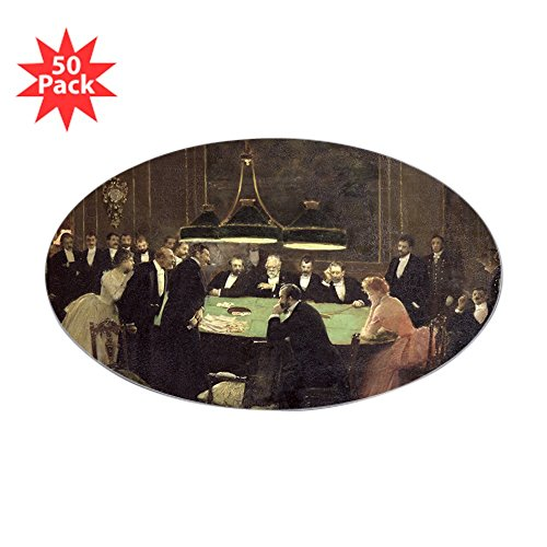 CafePress - No, 1889 @Oil On Canvasa - Sticker @Oval 50 PKA - Sticker (Oval 50 pk) ()
