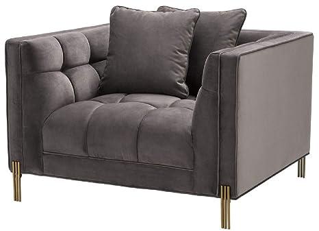 Casa-Padrino sillón de Terciopelo 2 Cojines Gris/latón 104 x ...