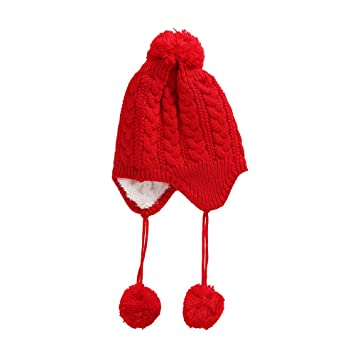 8ae5f7760ad Amazon.com   Inkach Baby Earflaps Hat - Kids Crochet Knitted Beanie Hats  Hairball - Winter Warm Skull Cap (Red)   Baby