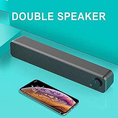 Vaycally Sound Bar Wireless Bluetooth 5.0 Home TV Soundbar System Cinema Subwoofer Speake Wireless Bluetooth Sound Blaster Speaker Mobile Receipt Strip Audio Tf Card USB with Radio Desktop Subwoofer