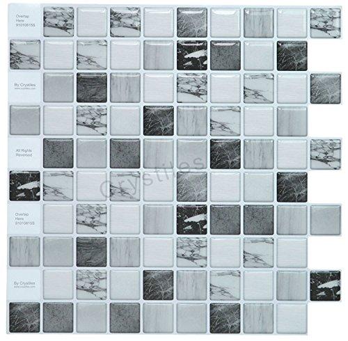 "Crystiles peel and stick DIY backsplash tile stick-on vinyl wall tile, perfect backsplash idea for kitchen and bathroom décor projects, Item #91010815, 10"" X 10"" each, 6 sheets pack"