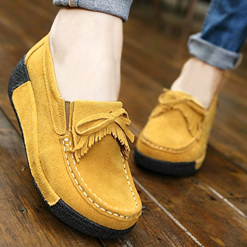 Saguaro Dames Platform Loafers Shape-up Walking Sneakers Suède Mocassins Rocker Zool Sleehakken Kwastjes Schoenen Geel