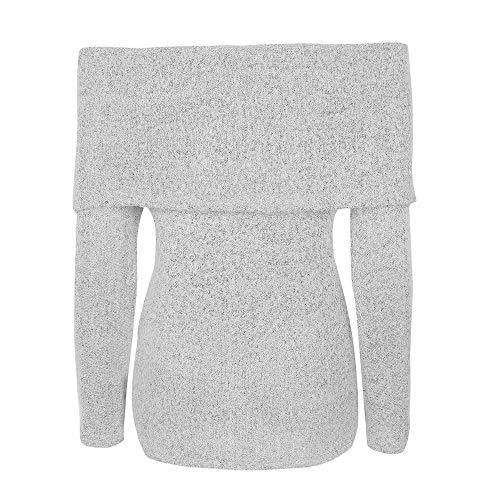 longues Zhrui Chemisier manches Femmes en cn Casual de Pullover Sweatshirt épaules Mode 36 s Tops Gris Sexy tricot Lâche chandail Couleur à Taille Tunique Eu xxrfAZ